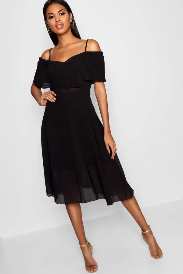 a84514d0c9d7 boohoo Pleated Cold Shoulder Midi Skater Dress #style #fashion #shopping  #deals