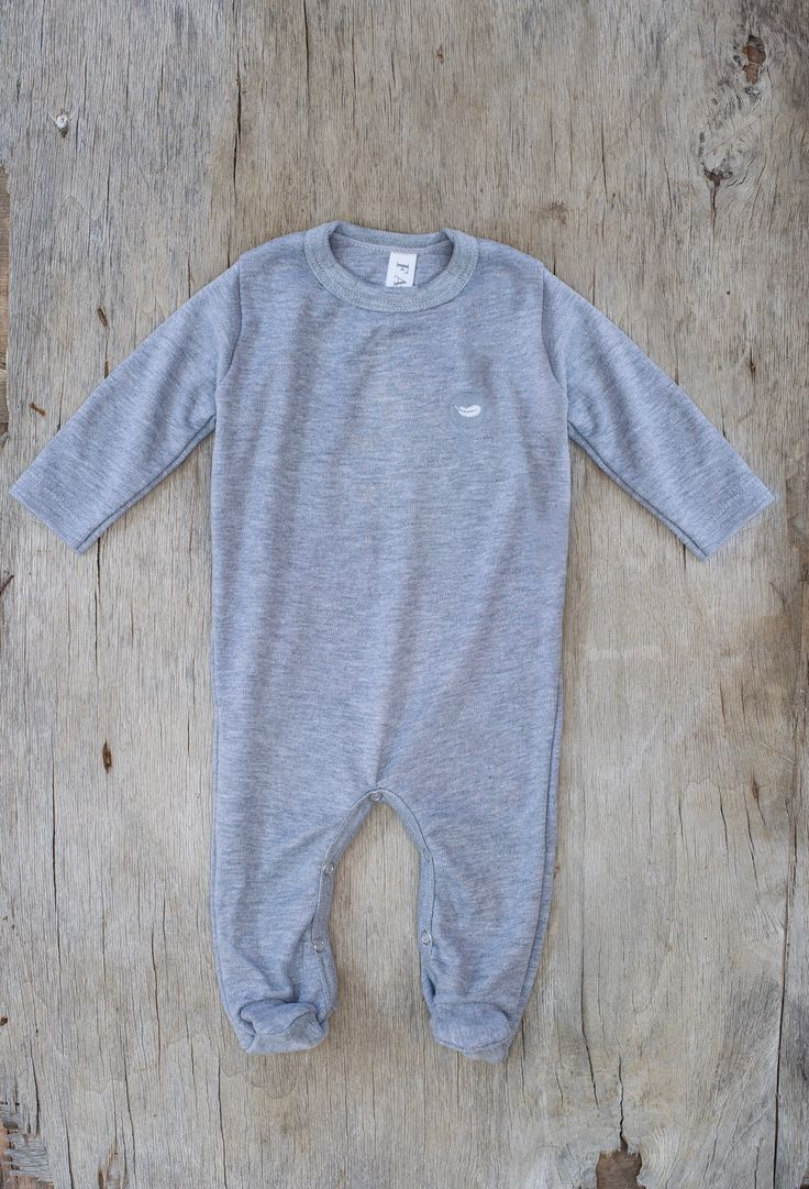 Fable Babywear Warmer Collection -Grey Warmer with grey feather embroidery. Made with 100% cotton. Browse our collections at fablebabywear.com/