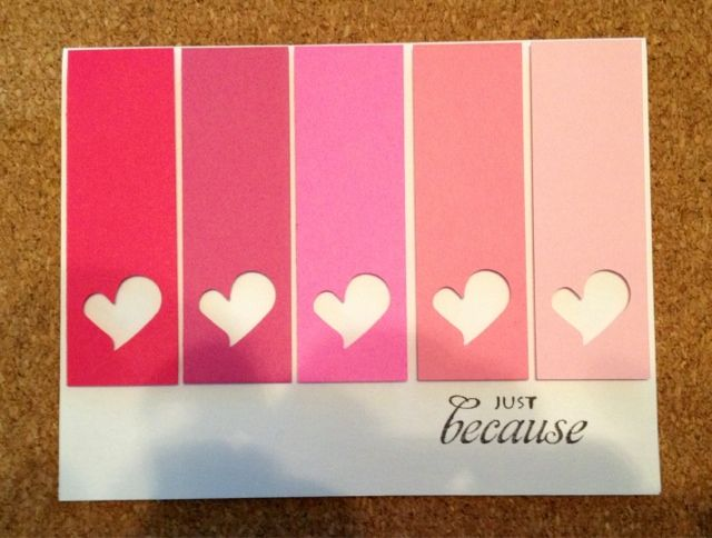 handmade Valentine card ... Just Because by cr8iveme ... clean and simple ... ombre in pink ... punched negative space hearts ... luv the look ... Homemade Valentines,#DIY,Valentine's Day Crafts                                                                                                                                                      More