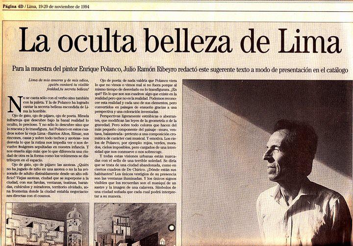 """LA OCULTA BELLEZA DE LIMA"", por Julio Ramón Ribeyro"