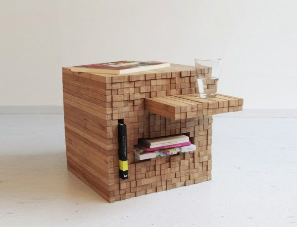 Clever Bamboo Table is Also a Cupboard : TreeHugger
