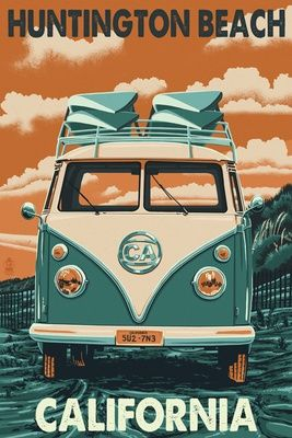CALIFORNIA Huntington Beach, Campervan vintage style travel poster USA {NOTE}                                                                                                                                                      More