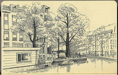 Corner Jacob van Lennepkade - Nice line drawing