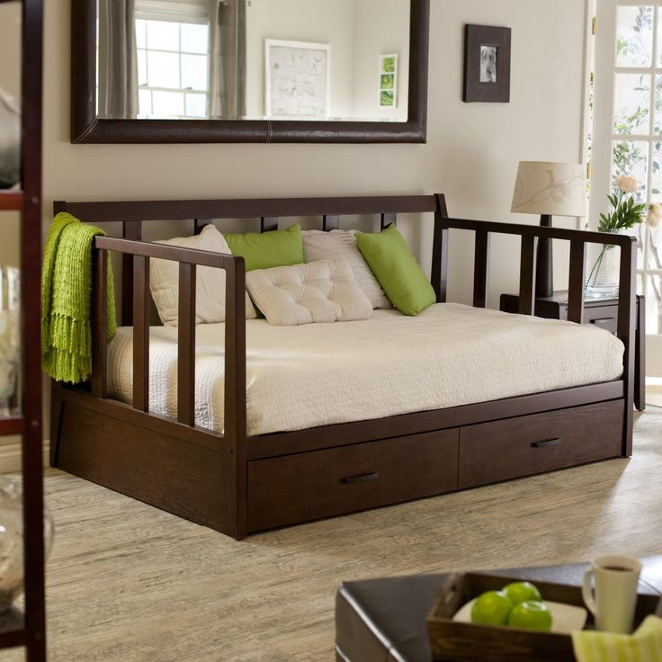 Rustic Daybed with Trundle Wooden Material Ergonomic Pillows and White Color Rug Cover - Bedroom. Daybed Covers and Daybed Bedding Sets | No...