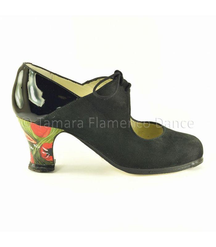zapatos de flamenco profesionales de mujer - Begoña Cervera - Arty ante negro detalles en charol y tacon pintado parrots