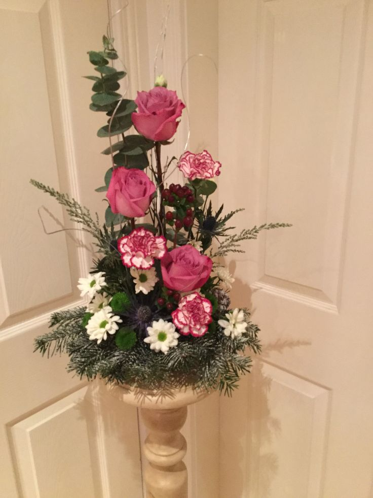 Roses, carnations and chrysanthemum arrangement