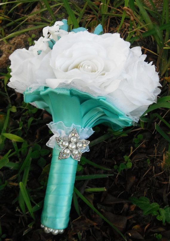 Tiffany Blue Wedding Bouquet with Pearl Accents by AngelicasBridal, $90.00