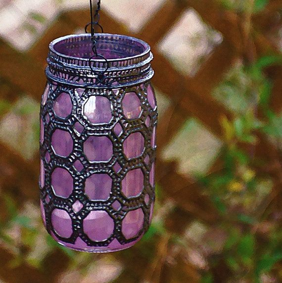Hand Painted Mason Jar Lantern Violet Glass with by LITdecor, $28.00