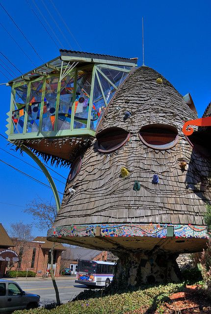 Real. The Mushroom House (also known as the TreeHouse) is an ornately fanciful home built by architect Terry Brown in the Hyde Park neighborhood of Cincinnati, Ohio.