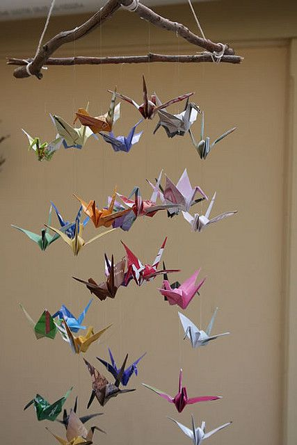paper crane mobile for the new baby :) I wish my great grandmother was still around we used to fold origami together #diy #nursery