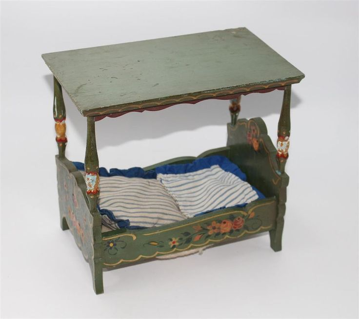 Fancy altes Bett Himmelbett Bauernm bel Bauernmalerei f r Puppenstube ca C