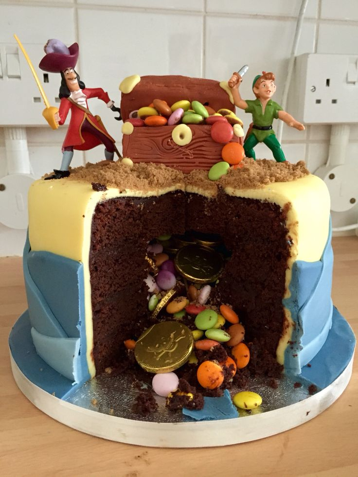The secret inside the cake... Captain Hook trying steal Peter Pans Treasure Box and hidden treasure! Birthday Cake for a Happy Little Pirate!