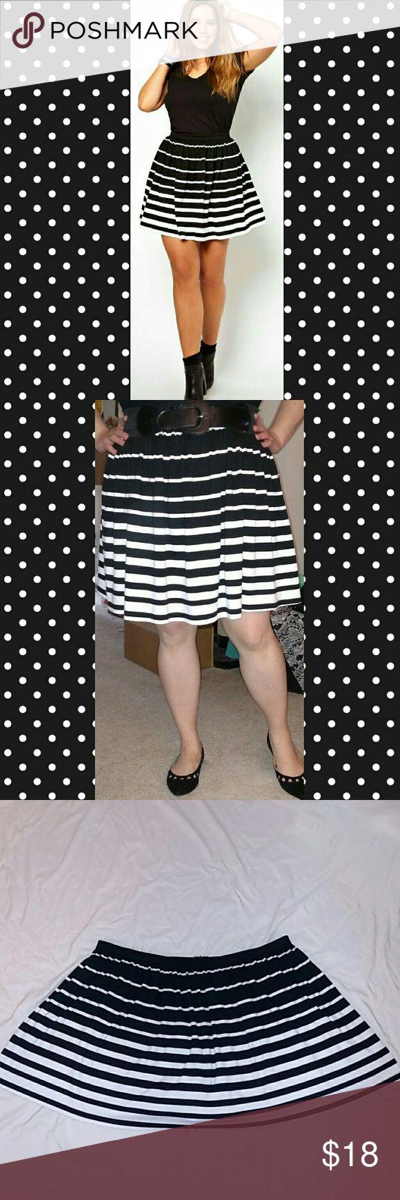 Asos Curve striped circle skirt Black and white striped ASOS curve skirt. Zipper closure, missing hook and eye closure. ASOS Curve Skirts Circle & Skater