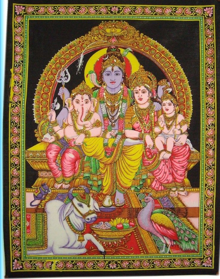 Antique Poster Lord Shiva Family Divine Wall Hanging Bed Spread Ethnic Tapestry