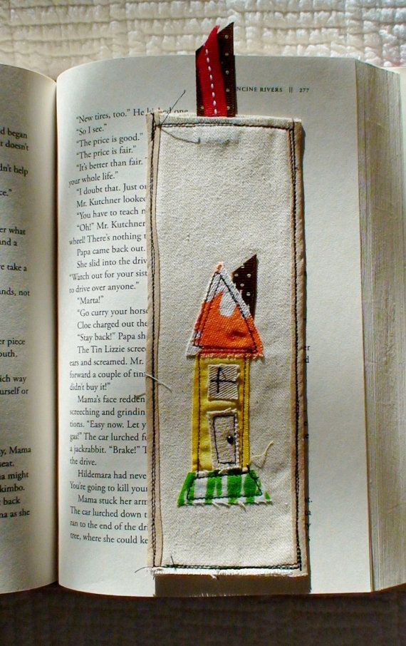 Shabby cottage scrap applique bookmark