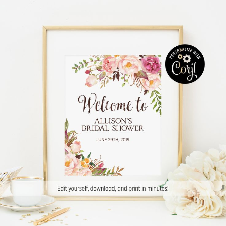 editable file 11x14 bohemian welcome sign pink floral