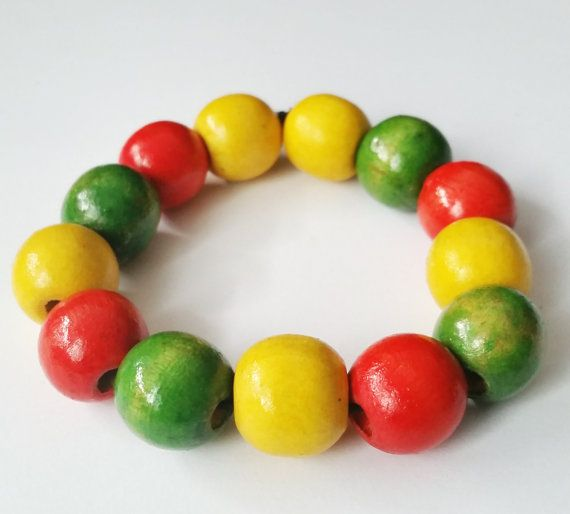Wood bracelet Wood beads bracelet Colourful bracelet by CatiShop