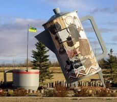 leaning tower of coffeeRoadside Attraction, Coffee Pots, Giants Coffe, Roadside Giants, Roads Side, Canada Roadside, Saskatchewan Canada, Coffe Pots, Coffe Shops