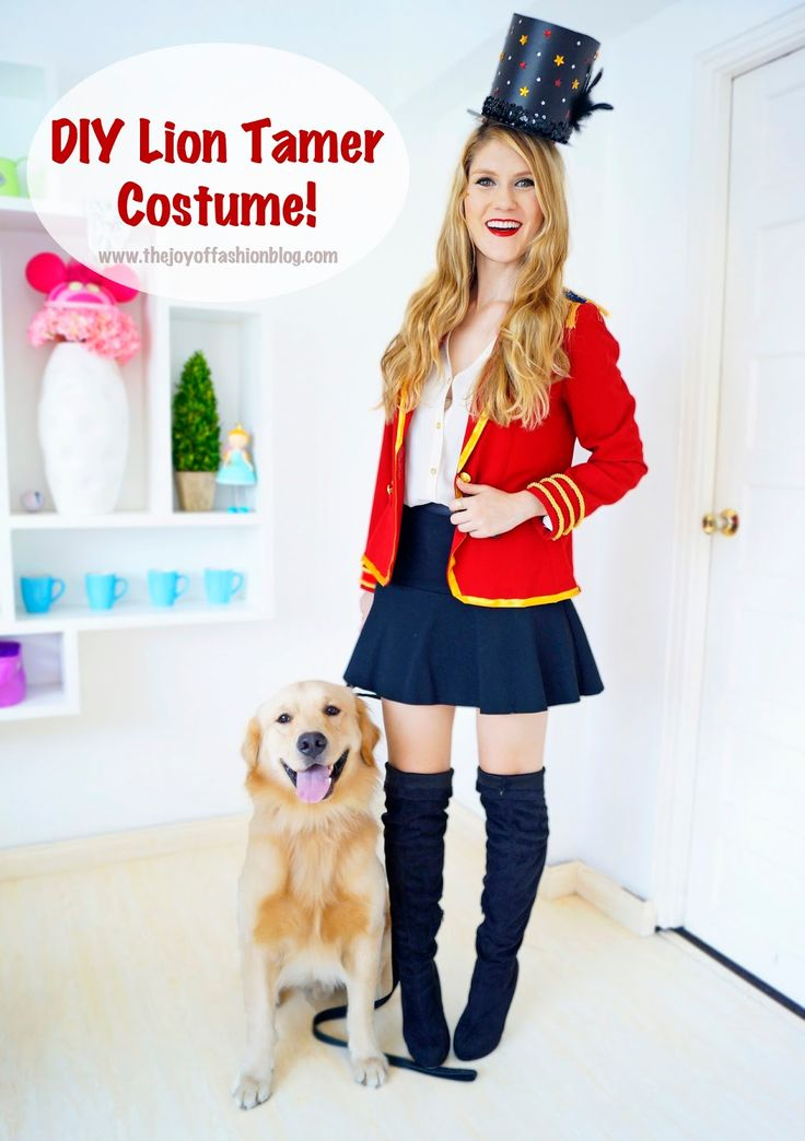 This cute Lion Tamer Costume is so easy to make and perfect for Halloween. Click through for full tutorial! By @thejoyoffashion.