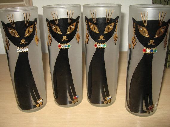 Vintage Mid Century Kit Kat Cool Cat Frosted Drinking Glasses Tumblers Libbey…