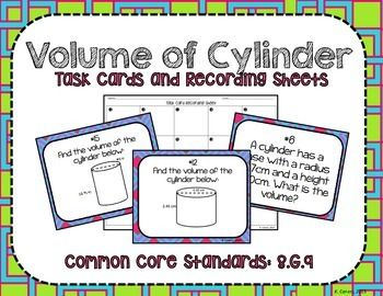 """Volume of Cylinders Task Cards + Recording Sheets CCS: 8.G.9Included in this product: *20 unique task cards dealing with finding volume of cylinders **Please note that for each card, students should round to the nearest tenth if necessary***4 different recording sheets*Answer KeyThese cards are great for math centers, independent practice, """"SCOOT"""" and other cooperative learning models.Digital background papers by  EMILY WEAN"""