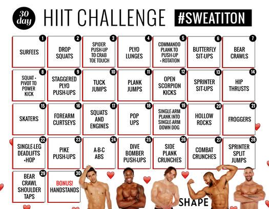 Our 30 day HIIT challenge is even more fun and motivating with some eye candy to lead you through daily workouts and show you how to do exercises such as planks  mountain climbers and burpees  See a leaner  sculpted body in just one month with these daily HIIT workouts that will target your entire body so you see great results