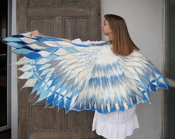 Impressive wing scarf nuno felted white blue bird by filcAlki