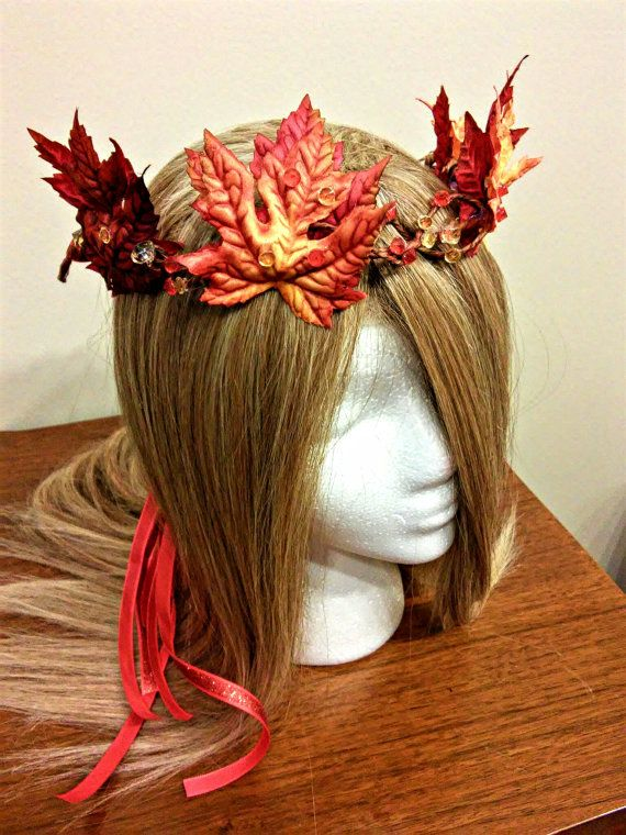Fall Headband, Autumn Leaf, Orange Red, Flower Crown, Bridal Headdress, Fairy Costume, Adult Hairpiece, Wedding Accessory, Floral Halo