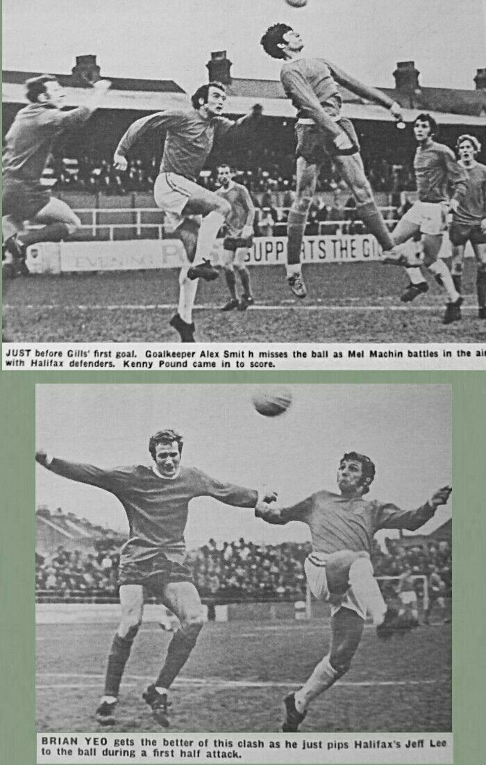 Gillingham 2 Halifax Town 0 in April 1970 at Priestfield Stadium. Action from the Division 3 clash.