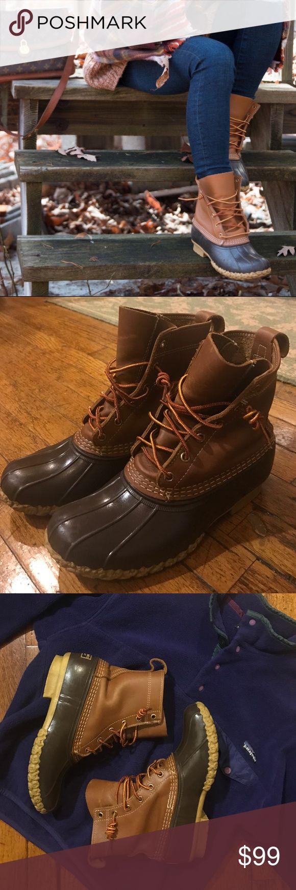 L.L. Bean Duck Boots! The classic LL Bean Duck Boots in Brown/Tan! Very gently used--just broken in enough for you to be able to slip them right on and be comfy (avoiding that break-in period that lasts a few weeks before they begin to soften up and look natural on your feet)! In case you don't already know: SIZE DOWN in LLBean Duck Boots! These are a size 7, but fit an 8-8.5. These are often backordered and are never eligible for sales promotions from LLBean, so snag them here! :) Patagonia…
