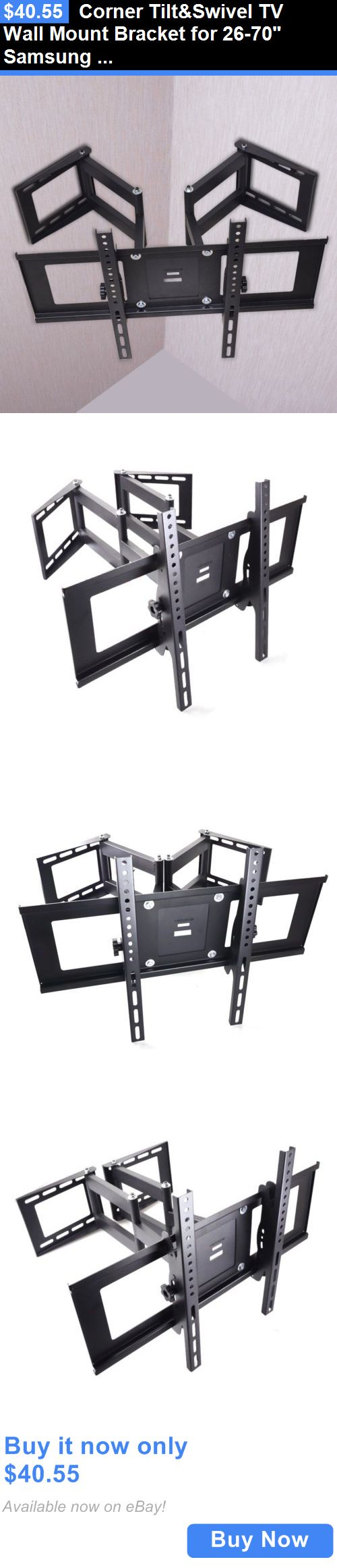 TV Mounts and Brackets: Corner Tiltandswivel Tv Wall Mount Bracket For 26-70 Samsung Lg Vizio Led Lcd BUY IT NOW ONLY: $40.55