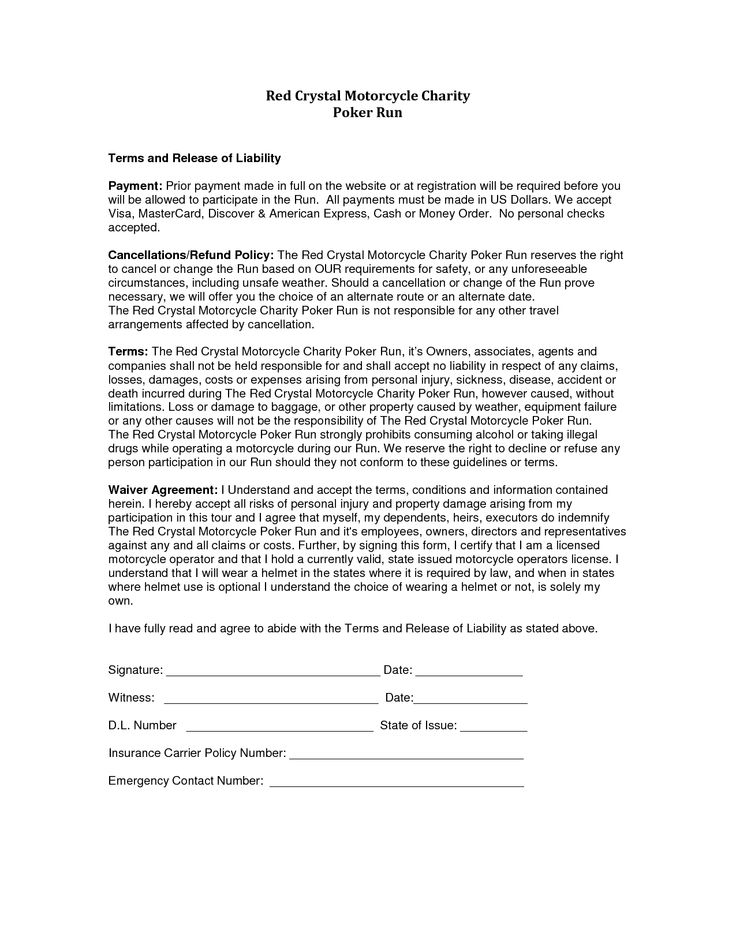 Equipment Liability Release Form Template Invitation