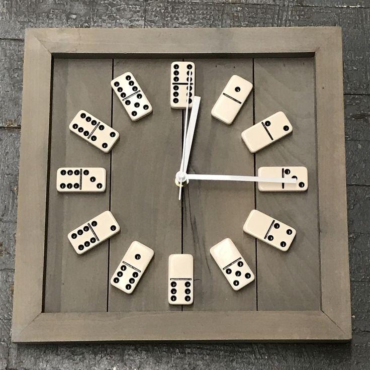 """13.5"""" Square Wooden Domino Clock"""