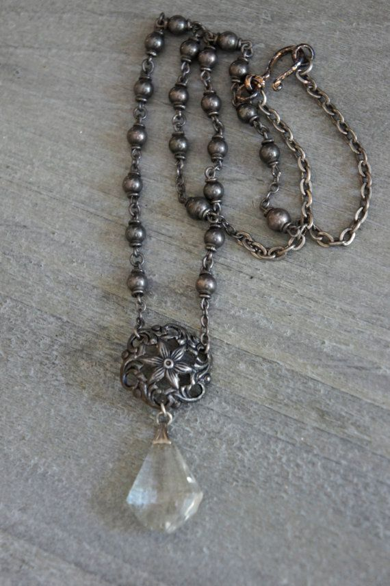 Lady Mary-Vintage assemblage necklace art deco crystal pendant by frenchfeatherdesigns on etsy