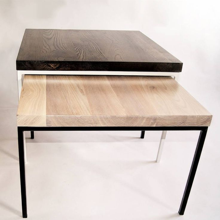 Two modernist tables in disharmonic colours visually refers to the chessboard.  Color of tabletops contrasts with steel frames and at the same time emphasize the noble structure of oak.  Tables are part of a set – there is a possibility to order one table at any colour and dimentions.