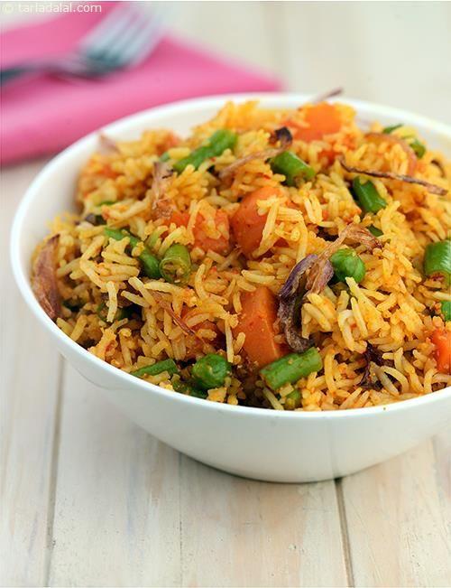 Spicy Vegetable Pulao recipe | Vegetarian Recipes | by Tarla Dalal | Tarladalal.com | #2216