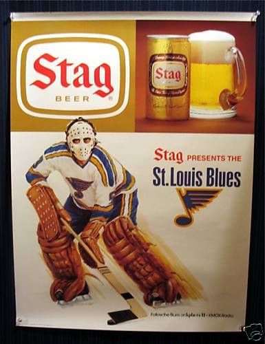 Stag Beer / St Louis Blues Hockey Window Sign Old Stock in Collectibles | eBay