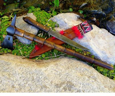Custom handmade knives, tomahawks, edged weapons, war clubs, powder horns, powderhorns, metal sculpture, jewelry by Larry Gotkin for Sale or Commission - Magua's Knife - Last of the Mohicans
