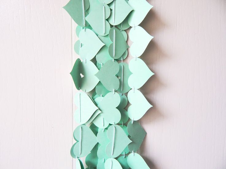 Heart Garland in Green Mint / Mint Wedding Decor / Photo Prop / Mint Table Accent by ElisabethNicole on Etsy https://www.etsy.com/listing/179584272/heart-garland-in-green-mint-mint-wedding