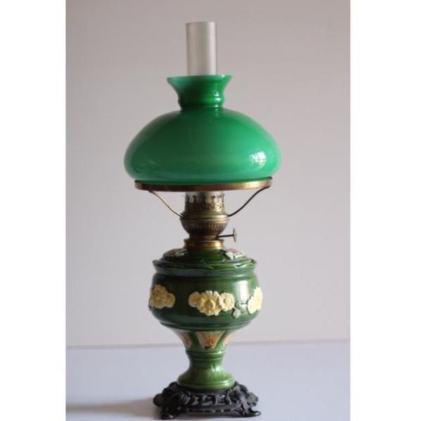 Lampara mesa de cerámica verde estilo Quinqué Decoraciones