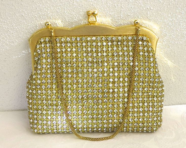Vintage rhinestone bag, gold metallic fabric covered with sparkling rhinestones in prong settings, gold frame and chain, Hong Kong, 1960s by CardCurios on Etsy