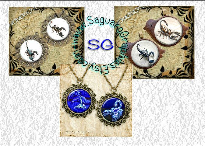Desert Scorpions Art - Digital Collage Sheets - 1.5 inch Circles, 30x40mm Ovals for Jewelry Makers, Party Favors, Arts & Crafts by SaguaroGraphics on Etsy