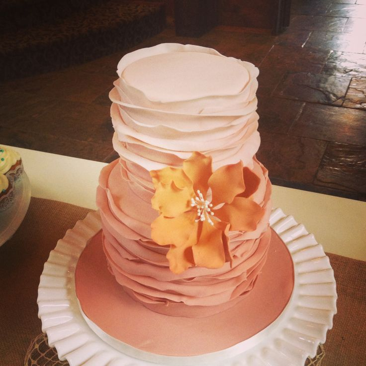 Wedding Cake Inspiration Ideas: Small Two Tier Ruffle Wedding Cake.