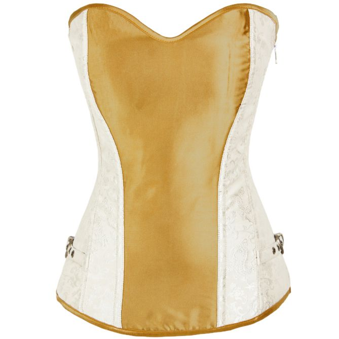 The gold satin and brocade strapless corset with zipper closure and buckles side, lace-up back and matching g-string. #corsetsa #goldcorsets #wedding