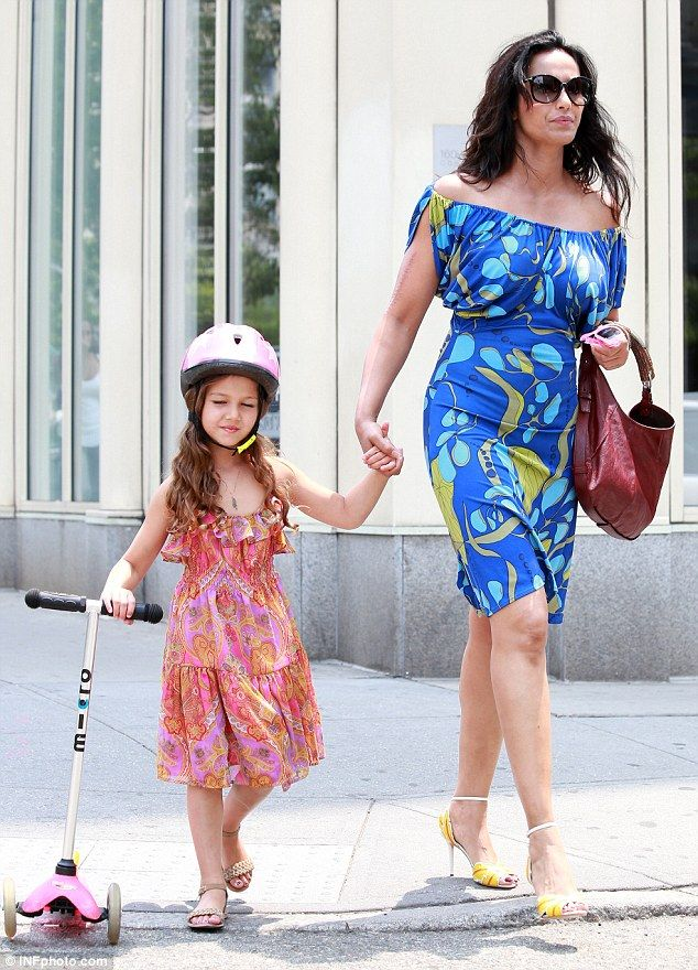 Big Apple of her eye: Careful Padma Lakshmi held daughter Krishna's hand as they walked around in New York on Sunday