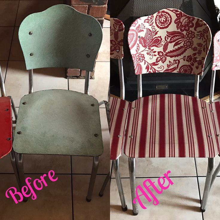 Old kitchen chairs x decoupage with material