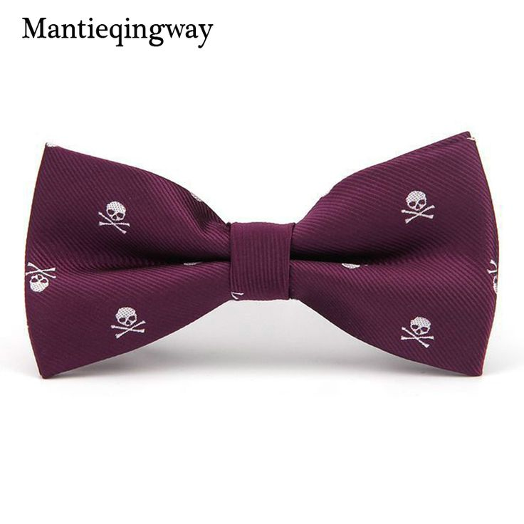 Mantieqingway Novelty Men's Polyester Silk Bow Tie Skull Bowtie for Tuxedo Banquet New Design Bowknot Ties for Wedding Groom  Price: 6.63 & FREE Shipping  #hashtag2