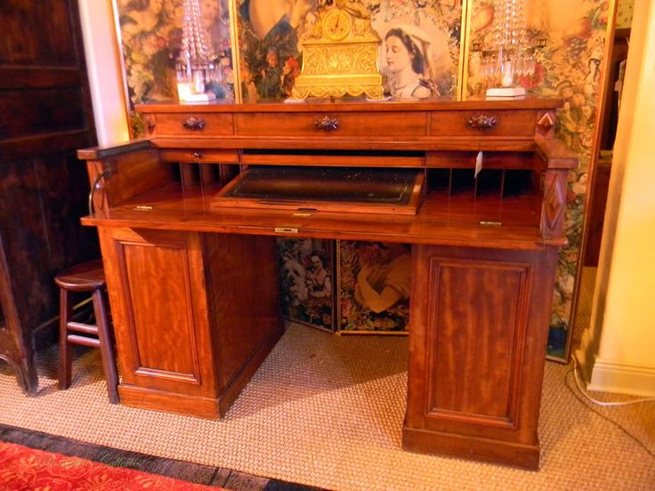 William IV Very Unusual Mahogany Desk With Butleru0027s Front. Elegant Antique  Furniture And Storage Pieces From Our Gulf Coast Showroom.