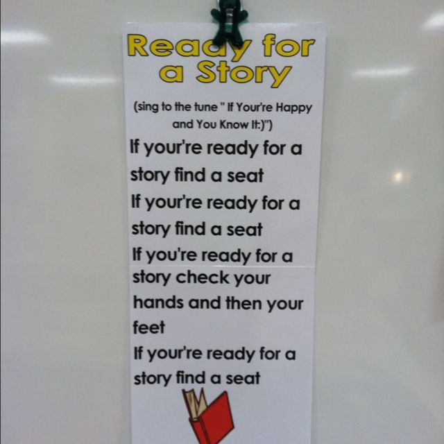 """Use this song to quietly get your students to the carpet area for a story.  The title is Ready for a Story and sing to the tune of """"If Your Happy and You Know It""""."""