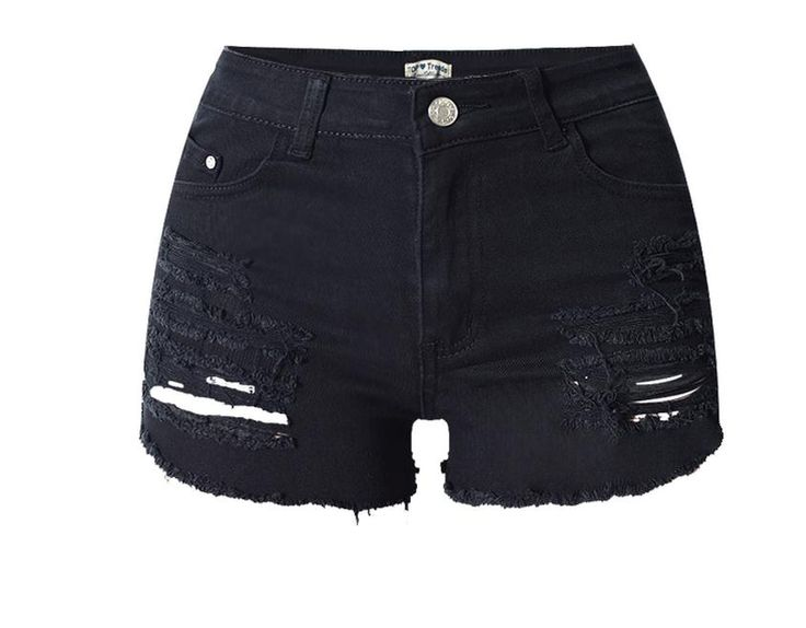 Women Summer High Waist Denim Shorts Casual Hole Female Jeans Shorts Ripped Large Size Stretch Skinny Shorts Size 34/44 K235 #Affiliate